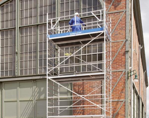 Rollgerüst 1,50 x 2,85 m mit Auslegern und Sicherheitsaufbau aus Aluminium