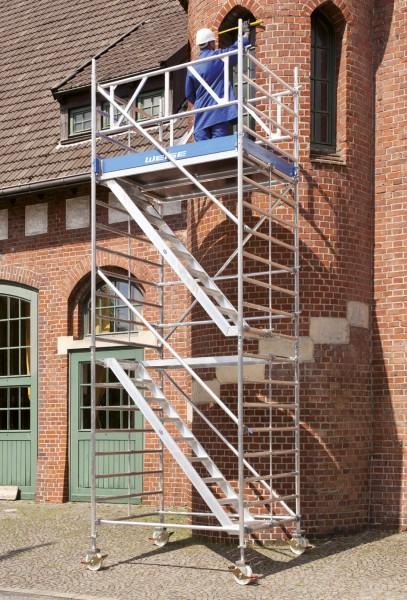 Rollgerüst 1,50 x 1,80 m mit Treppenaufgang aus Aluminium
