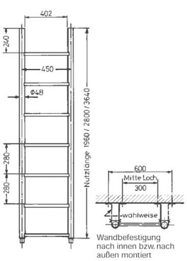 Grundleiter mit Rohrsprossen aus Edelstahl V4A