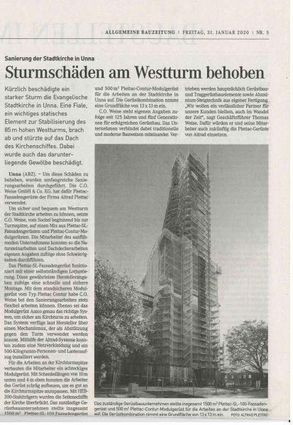 Kirchturmeinrüstung Kirche Unna in der Presse