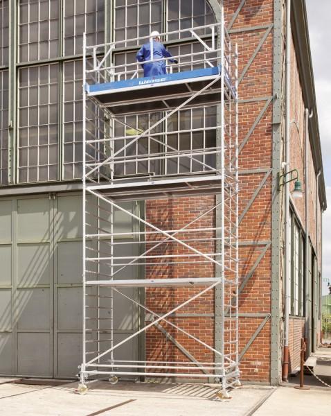 Rollgerüst 1,50 x 2,85 m mit Fahrbalken und Sicherheitsaufbau aus Aluminium