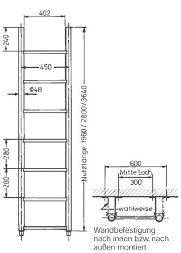 Grundleiter mit U-Profil-Sprossen aus Edelstahl V4A