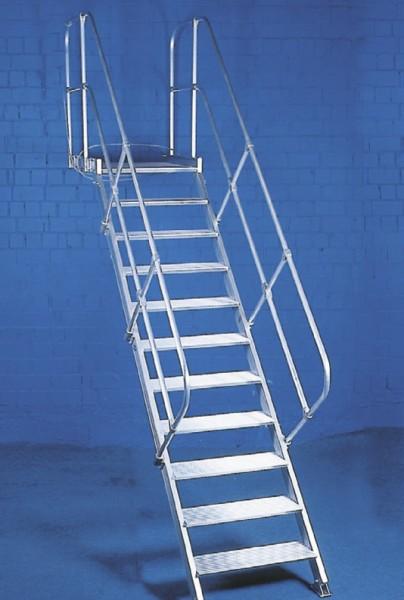 Podesttreppe aus Aluminium mit 1 Handlauf und 55° Neigung,