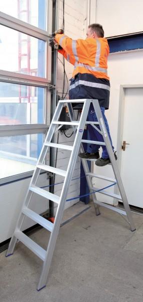 Stufen-Stehleiter Aluminium, extra breit, bis 250 kg belastbar