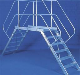 Übergang rollbar mit einseitigen Handläufen und Geländer aus Aluminium