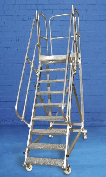 Wartungsbühne rollbar mit 1 Handlauf aus Aluminium