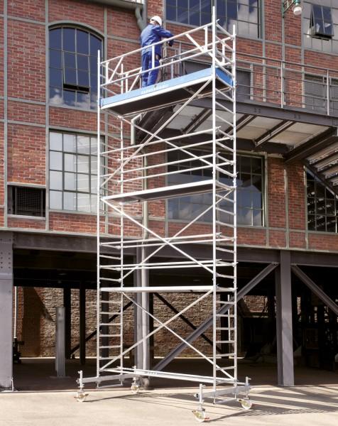 Rollgerüst 0,75 x 2,85 m mit Fahrbalken und Sicherheitsaufbau aus Aluminium